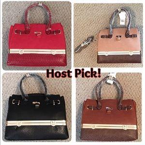 Boutique Bags - Storage Compartment Faux Leather Satchel Purse New